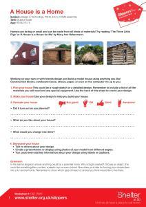 Slippers for Shelter school worksheet 1