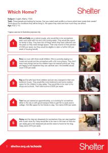 Shelter Which Home? worksheet for KS2 pupils
